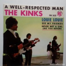 Discos de vinilo: THE KINKS- A WELL RESPECTED MAN - FRENCH EP 1965 + LENGÜETA.. Lote 104876023