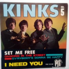 Discos de vinilo: THE KINKS- VOL. 5- DANCING IN THE STREE - FRENCH EP 1965 + LENGÜETA- VOGUE.. Lote 104876419