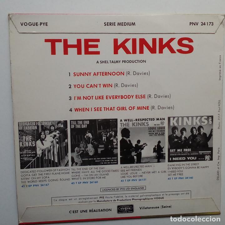 Discos de vinilo: THE KINKS SUNNY AFTERNON - FRENCH EP 1966 + LENGÜETA- PYE RECORDS. - Foto 2 - 104876691