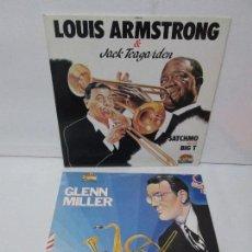 Discos de vinilo: GLENN MILLER. LOUIS ARMSTRONG AND JACK TEAGARDEN. 2 LP VINILO. GIANTS OF JAZZ. VER FOTOGRAFIAS. Lote 104907943