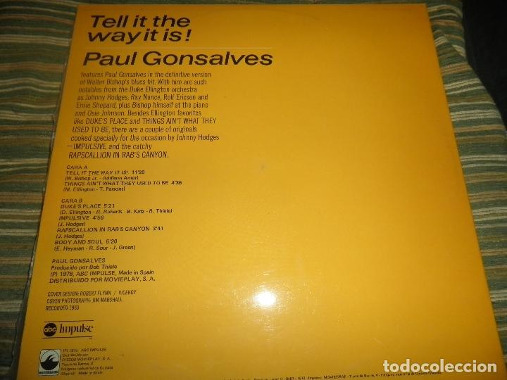 Discos de vinilo: PAUL GONSALVES - TELL IT THE WAY IT IS! LP - EDICION ESPAÑOLA - ABC IMPULSE 1978 - GATEFOLD COVER - Foto 2 - 105233835