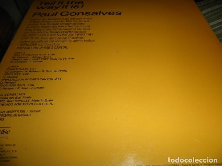 Discos de vinilo: PAUL GONSALVES - TELL IT THE WAY IT IS! LP - EDICION ESPAÑOLA - ABC IMPULSE 1978 - GATEFOLD COVER - Foto 9 - 105233835