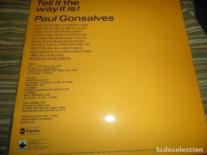 Discos de vinilo: PAUL GONSALVES - TELL IT THE WAY IT IS! LP - EDICION ESPAÑOLA - ABC IMPULSE 1978 - GATEFOLD COVER - Foto 17 - 105233835