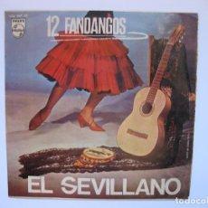 Discos de vinilo: EL SEVILLANO - EP - 12 FANDANGOS - SE VENDE SOLO PORTADA ( SIN DISCO DE VINILO EN SU INTERIOR). Lote 219043125