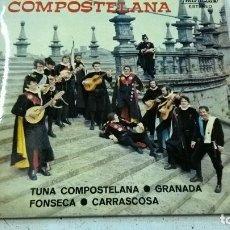 Discos de vinilo: EP TUNA UNIVERSITARIA COMPOSTELANA, TUNA COMPOSTELANA / GRANADA / FONSECA / CARRASCOSA, AÑO 1975. Lote 105264691