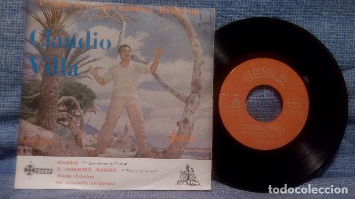 CLAUDIO VILLA - 1ER FESTIVAL DE LA CANCION MEDITERRANEA - BINARIO + 3 ED. ESPAÑOLA - CETRA 1959 (Música - Discos de Vinilo - EPs - Canción Francesa e Italiana)