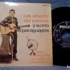 Discos de vinilo: LUIS ALBERTO DEL PARANA Y SU TRIO LOS PARAGUAYOS - EP - PHILIPS 1963 - LENGÜETA - EX. Lote 105474603