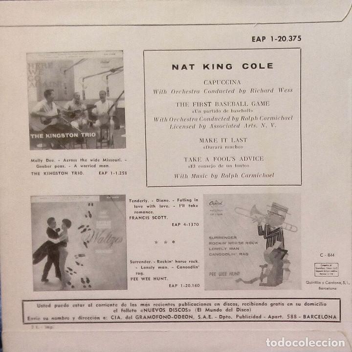 Discos de vinilo: NAT KING COLE - CAPUCCINA + 3 EP ESPAÑOL DEL AÑO 1962 - EAP 1-20.375 - VER FOTOS - Foto 4 - 105610071