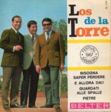 Discos de vinilo: DE LA TORRE - FESTIVAL SAN REMO 1967, EP, BISOGNA SAPER PERDERE + 3, AÑO 1967. Lote 105649567