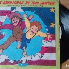 Discos de vinilo: SINGLE (VINILO) DE LA B.S.O. DE LA SERIE DE TV LAS AVENTURAS TOM SAWYER AÑOS 80. Lote 105662707