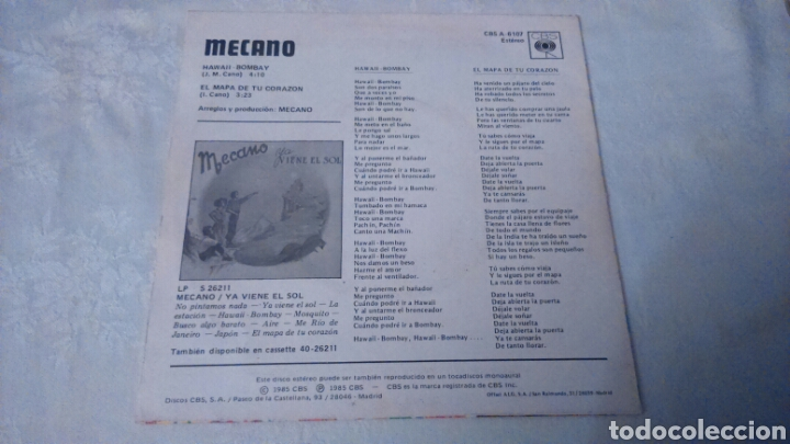 Discos de vinilo: MECANO. SINGLE HAWAII BOMBAY - Foto 2 - 105685591