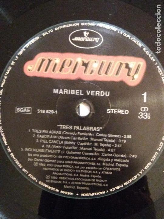 Discos de vinilo: MARIBEL VERDU Tres palabras ( 1993 MERCURY ESPAÑA ) RARISIMA EDICION ORIGINAL - Foto 3 - 105699171