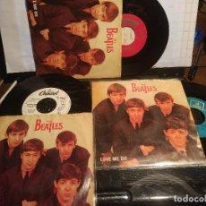 Discos de vinilo: THE BEATLES. TRES VERSIONES DIFERENTES DE LA REEDICIÓN LOVE ME DO PROMO USA Y ESPAÑOLA + INGLESA. Lote 105730167