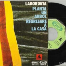Discos de vinilo: LABORDETA SINGLE PROMOCIONAL PLANTA UN ÁRBOL / REGRESARÉ A LA CASA 1977-EN PERFECTO ESTADO. Lote 105822463
