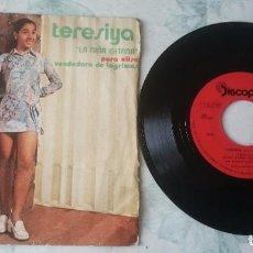 Discos de vinilo: TERESIYA. LA NIÑA GITANA: PARA ELISA / VENDEDORA DE LÁGRIMAS (DISCOPHON 1971). Lote 105865575
