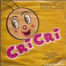 Discos de vinilo: EP-CRI CRI EL GRILLITO CANTOR FRANCISCO GABILONDO SOLER RCA 4 MEXICO 195???. Lote 105884659