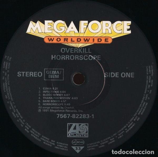 Discos de vinilo: OVERKILL HORRORSCOPE LP 1991 MEGAFORCE.... KREATOR SLAYER - Foto 3 - 105904523