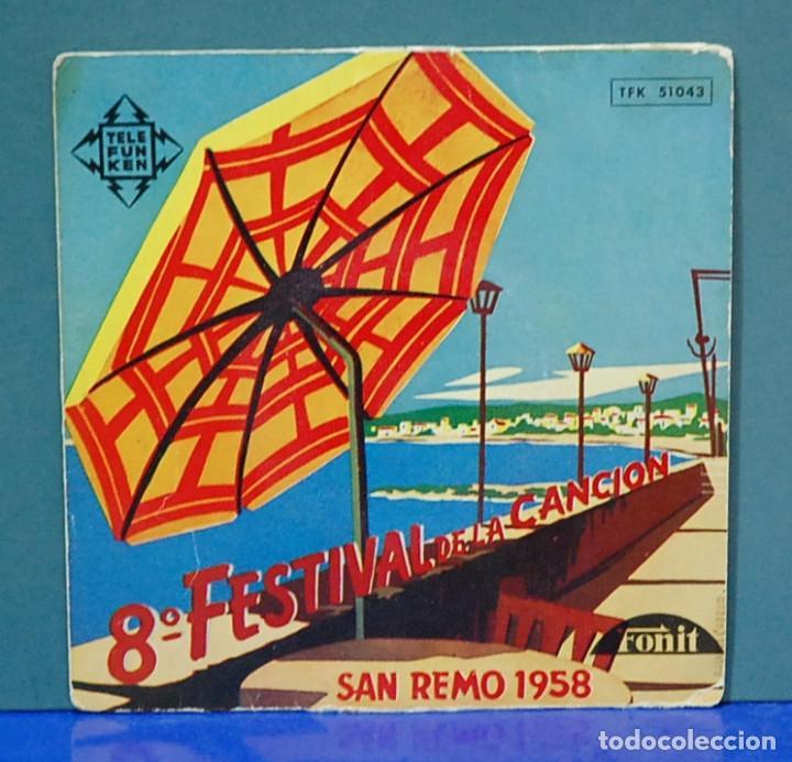 8º FESTIVAL DE LA CANCIÓN. SAN REMO 1958, REF. TFK 51043. EP (Música - Discos - Singles Vinilo - Pop - Rock Extranjero de los 50 y 60)