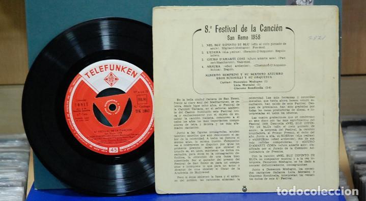 Discos de vinilo: 8º Festival de la canción. San Remo 1958, ref. TFK 51043. EP - Foto 2 - 105976743
