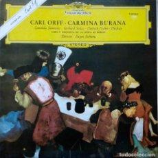 Discos de vinilo: CARL ORFF. CARMINA BURANA. EUGEN JOCHUM. LP PORTADA ABIERTA CON LIBRETO. Lote 105987331