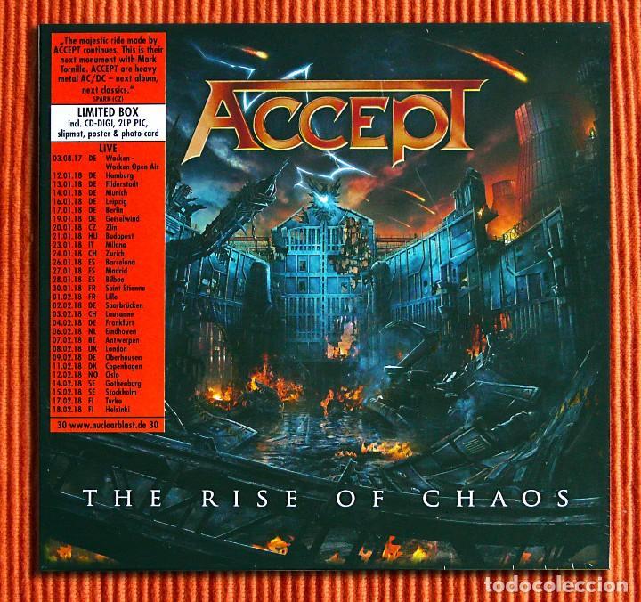 Discos de vinilo: ACCEPT - THE RISE OF CHAOS 1CD + 2 Picture LPs Edición limitada Box Set Precintado - Foto 2 - 106005295
