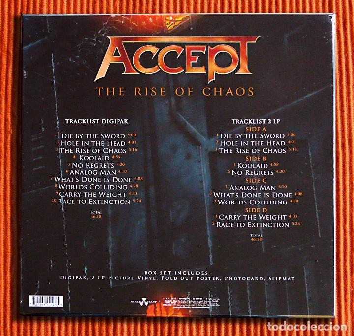 Discos de vinilo: ACCEPT - THE RISE OF CHAOS 1CD + 2 Picture LPs Edición limitada Box Set Precintado - Foto 3 - 106005295
