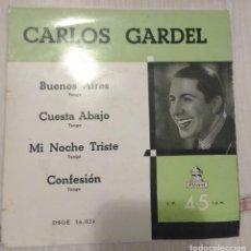 Discos de vinilo: CARLOS GARDEL / BUENOS AIRES + 3. Lote 289351088