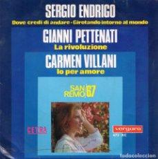 Discos de vinilo: FESTIVAL SAN REMO 67, EP, SERGIO ENDRIGO - DOVE CREDI DI ANDARE + 3, AÑO 1967. Lote 106115987