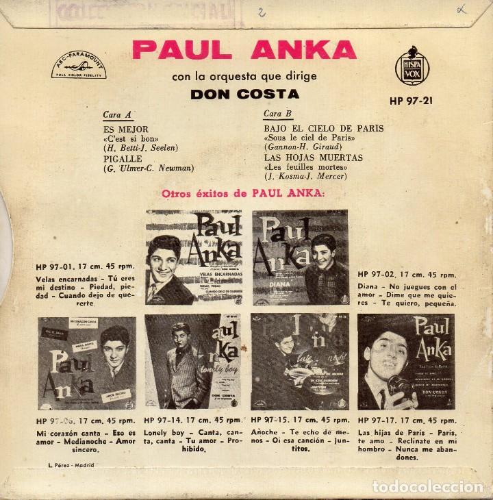 Discos de vinilo: PAUL ANKA, EP, C´EST SI BON + 3, AÑO 1960 - Foto 2 - 106132855