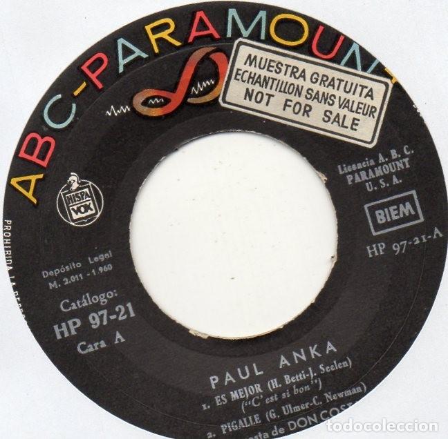 Discos de vinilo: PAUL ANKA, EP, C´EST SI BON + 3, AÑO 1960 - Foto 3 - 106132855