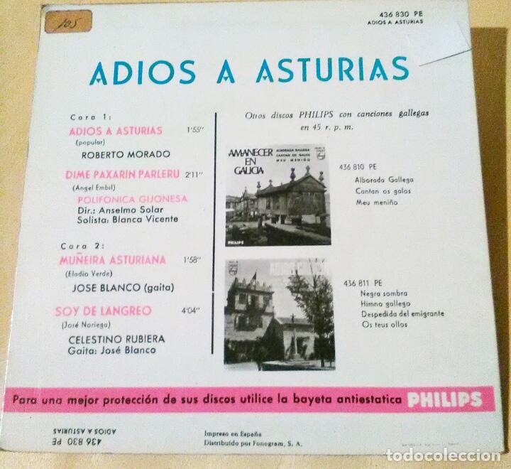 Discos de vinilo: Adios a Asturias, Roberto Morado, Polifónica Gijonesa, José Blanco, Celestino Rubiera .Radio -Norte - Foto 2 - 106567831