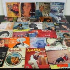Discos de vinilo: LOTE 30 EP Y SINGLES FRANCESES AZNAVOUR SEVERINE PETULA CLARK MARIE LAFORET ETC - VER FOTOS. Lote 106643043