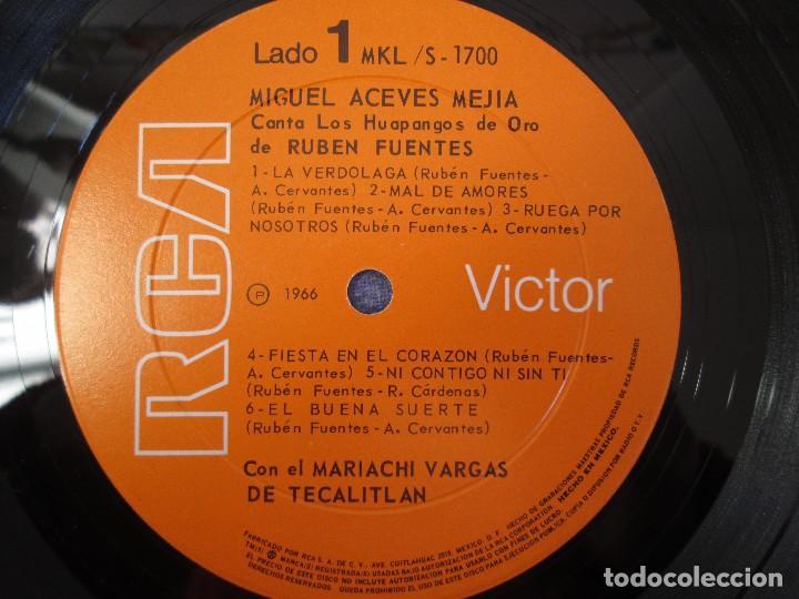 Discos de vinilo: MIGUEL ACEVES MEJIA. CANTA...LOS HUAPANGOS DE ORO. COMPUESTOS RUBEN FUENTES. LP VINILO 1966 - Foto 4 - 106644667
