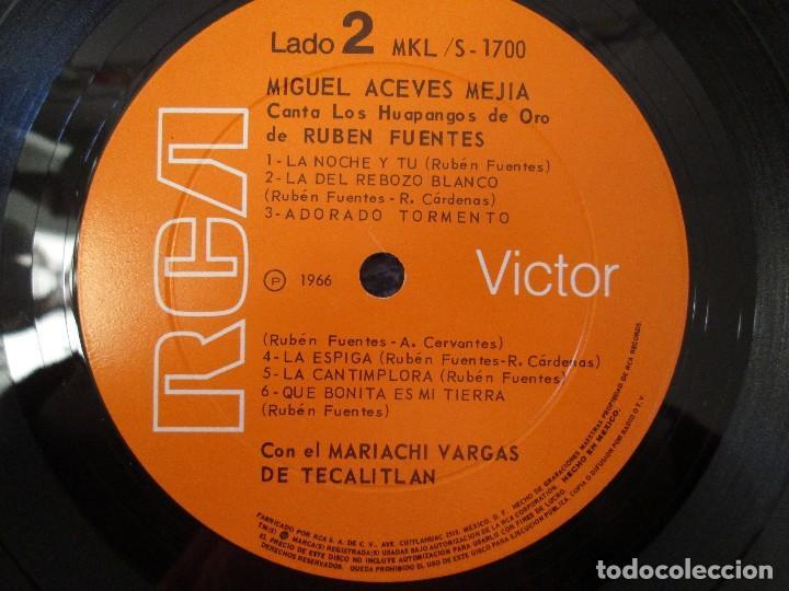 Discos de vinilo: MIGUEL ACEVES MEJIA. CANTA...LOS HUAPANGOS DE ORO. COMPUESTOS RUBEN FUENTES. LP VINILO 1966 - Foto 6 - 106644667