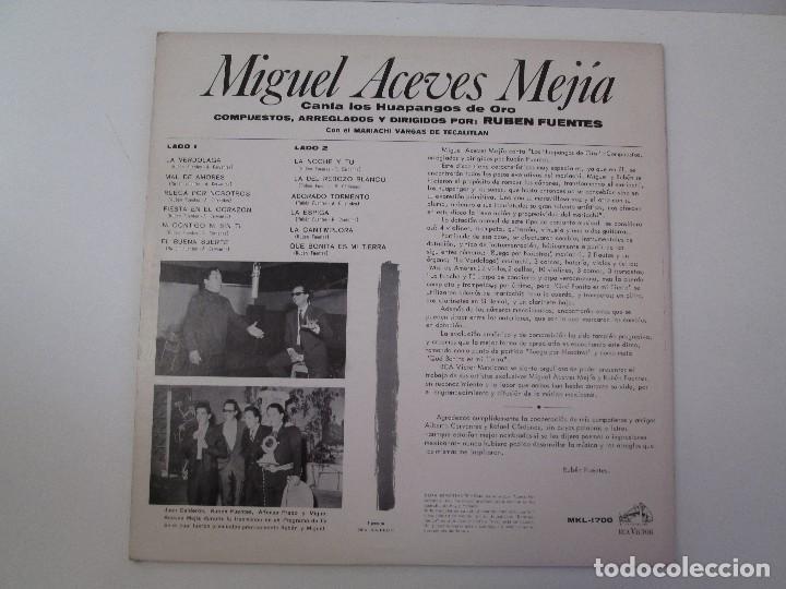 Discos de vinilo: MIGUEL ACEVES MEJIA. CANTA...LOS HUAPANGOS DE ORO. COMPUESTOS RUBEN FUENTES. LP VINILO 1966 - Foto 8 - 106644667