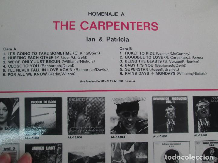 Discos de vinilo: HOMENAJE A CARBENTERS. IAN & PATRICIA. LP VINILO ALAMO 1974. VER FOTOGRAFIAS ADJUNTAS - Foto 7 - 106653615