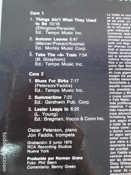 Discos de vinilo: OSCAR PETERSON AND JON FADDIS. LP VINILO. DISCOS COLUMBIA 1975. VER FOTOGRAFIAS ADJUNTAS - Foto 7 - 106701963
