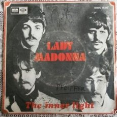 Discos de vinilo: THE BEATLES - LADY MADONNA - THE INNER LIGHT, AÑO 1968, ODEON. Lote 106790671
