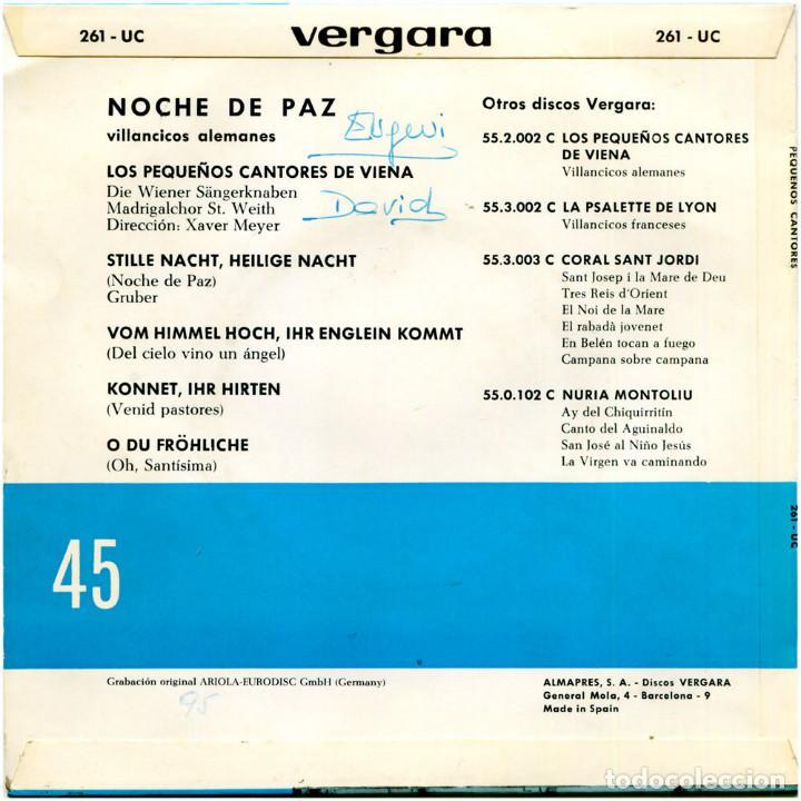 Discos de vinilo: Los Pequeños Cantores de Viena ?– Noche de Paz (Villancicos Alemanes) - Ep Spain 1969 - Vergara ? - Foto 2 - 106964451