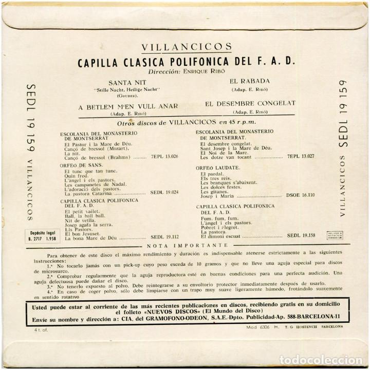 Discos de vinilo: Capilla Clasica Polifónica del F.A.D. – Villancicos - Ep Spain 1958 - Regal SEDL 19.159 - Catalá - Foto 2 - 106965159