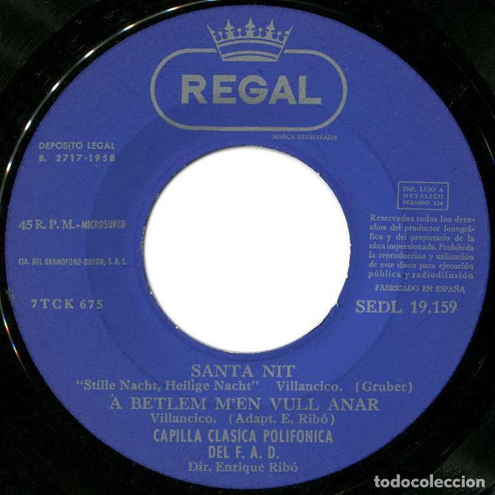 Discos de vinilo: Capilla Clasica Polifónica del F.A.D. – Villancicos - Ep Spain 1958 - Regal SEDL 19.159 - Catalá - Foto 3 - 106965159