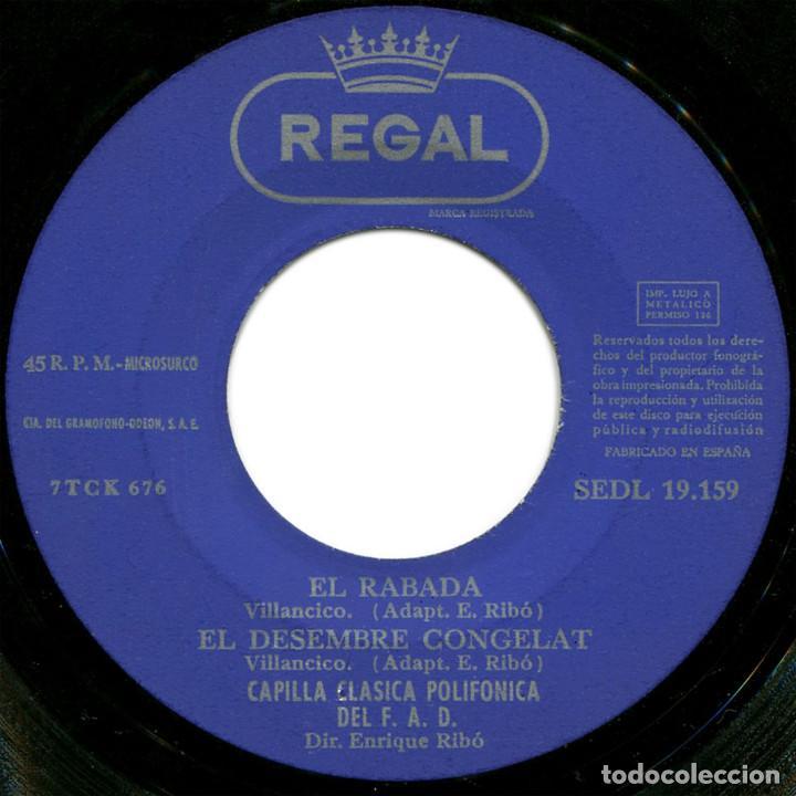 Discos de vinilo: Capilla Clasica Polifónica del F.A.D. – Villancicos - Ep Spain 1958 - Regal SEDL 19.159 - Catalá - Foto 4 - 106965159
