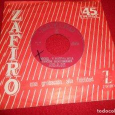 Discos de vinilo: MICHEL VI FESTIVAL CANCION MEDITERRANEA CARA AL MAR/MONTSERRAT 7'' SINGLE 1964 PROMO ZAFIRO SPAIN. Lote 107086411