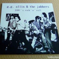 Discos de vinilo: G.G. ALLIN & THE JABBERS - 1980 ' S ROCK ' N ' ROLL (LP REEDICIÓN, ORA 778) NUEVO. Lote 107095491
