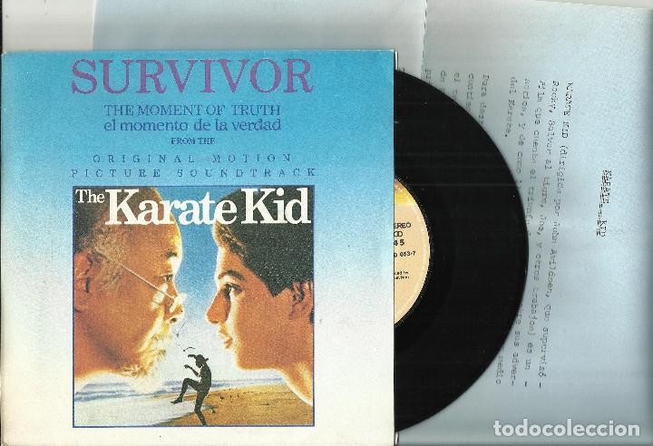SURVIVOR SINGLE THE MOMENT OF TRUTH B.S.O. THE KARATE KID.ESPAÑA 1984.CON HOJA PROMO (Música - Discos - Singles Vinilo - Bandas Sonoras y Actores)