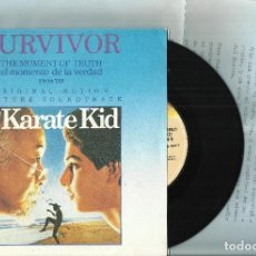Discos de vinilo: SURVIVOR SINGLE THE MOMENT OF TRUTH B.S.O. THE KARATE KID.ESPAÑA 1984.CON HOJA PROMO. Lote 107238435