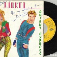 Discos de vinilo: JUNKEL SINGLE PROMOCIONAL ORIENT EXPRESS. 1984 FIRMADO POR ELLOS. Lote 107285855