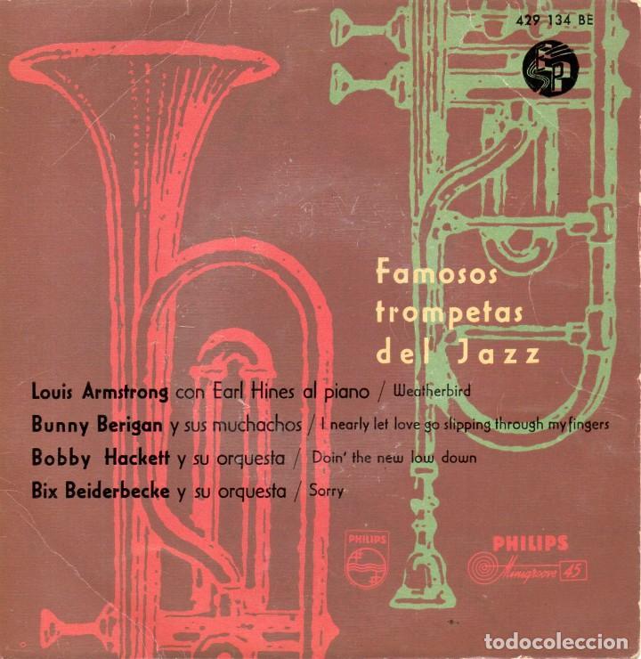 FAMOSOS TROMPETAS DEL JAZZ, EP, LOUIS ARMSTRONG - WEATHERBIRD + 3, AÑO 1959 (Música - Discos de Vinilo - EPs - Jazz, Jazz-Rock, Blues y R&B)