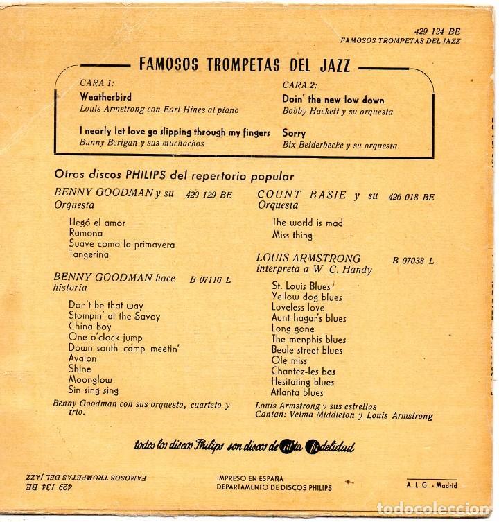 Discos de vinilo: FAMOSOS TROMPETAS DEL JAZZ, EP, LOUIS ARMSTRONG - WEATHERBIRD + 3, AÑO 1959 - Foto 2 - 107312551