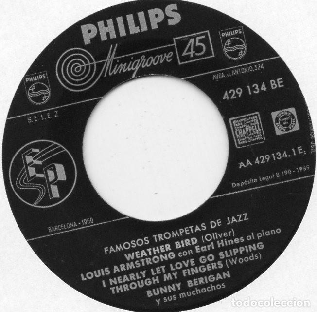 Discos de vinilo: FAMOSOS TROMPETAS DEL JAZZ, EP, LOUIS ARMSTRONG - WEATHERBIRD + 3, AÑO 1959 - Foto 3 - 107312551